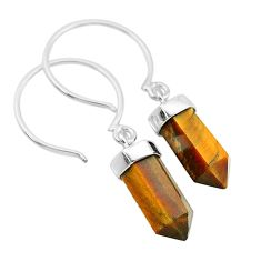 9.25cts natural brown tiger's eye 925 sterling silver dangle earrings t20574