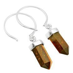9.82cts natural brown tiger's eye 925 sterling silver dangle earrings t20575