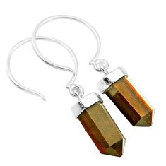 9.84cts natural brown tiger's eye 925 sterling silver dangle earrings t20576