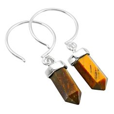 8.79cts natural brown tiger's eye 925 sterling silver dangle earrings t20578