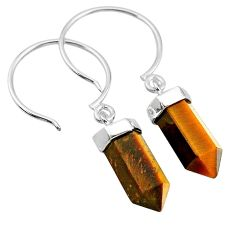 9.41cts natural brown tiger's eye 925 sterling silver dangle earrings t20579