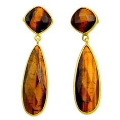 29.98cts natural brown tiger's eye 925 sterling silver earrings jewelry r32499