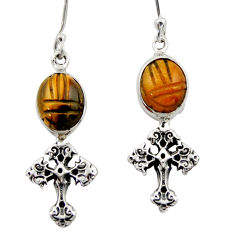 7.30cts natural brown tiger's eye 925 sterling silver holy cross earrings d46777