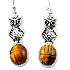 6.95cts natural brown tiger's eye 925 sterling silver owl earrings d46772