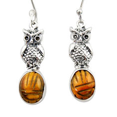 7.04cts natural brown tiger's eye 925 sterling silver owl earrings d46776