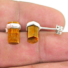 6.27cts natural brown tiger's eye 925 sterling silver stud earrings t36246