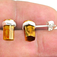 6.36cts natural brown tiger's eye 925 sterling silver stud earrings t36265