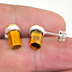 6.36cts natural brown tiger's eye 925 sterling silver stud earrings t36268