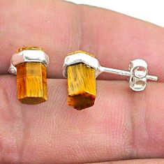6.38cts natural brown tiger's eye 925 sterling silver stud earrings t36271