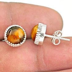 5.86cts natural brown tiger's eye 925 sterling silver stud earrings t43732