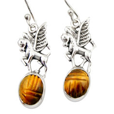 7.54cts natural brown tiger's eye 925 sterling silver unicorn earrings d46770