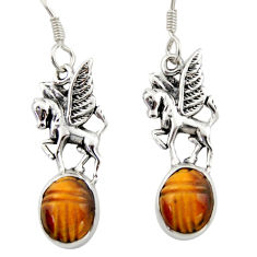7.25cts natural brown tiger's eye 925 sterling silver unicorn earrings d46771