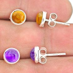 4.12cts natural brown tiger's eye amethyst 925 silver stud earrings t23929