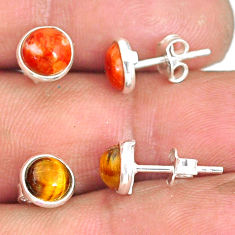 5.17cts natural brown tiger's eye copper turquoise silver stud earrings r81547
