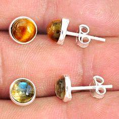 6.16cts natural brown tiger's eye labradorite 925 silver stud earrings r81545