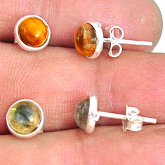5.59cts natural brown tiger's eye moonstone 925 silver stud earrings r81580