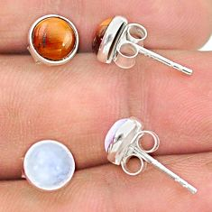 4.10cts natural brown tiger's eye moonstone 925 silver stud earrings t23890