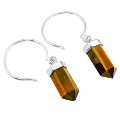 9.55cts natural brown tiger's eye pointer sterling silver dangle earrings r89001