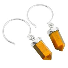 9.57cts natural brown tiger's eye pointer sterling silver dangle earrings r89002