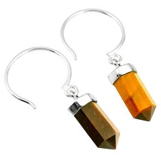 9.57cts natural brown tiger's eye pointer sterling silver dangle earrings r89009