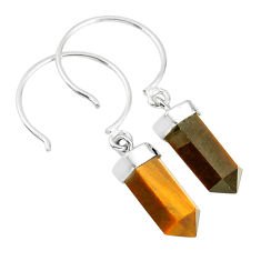 9.57cts natural brown tiger's eye pointer sterling silver dangle earrings r89010