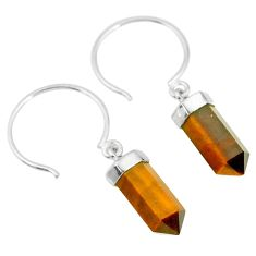 10.02cts natural brown tiger's eye pointersterling silver dangle earrings r89007