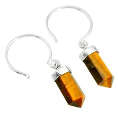 10.12cts natural brown tiger's eye pointersterling silver dangle earrings r89008