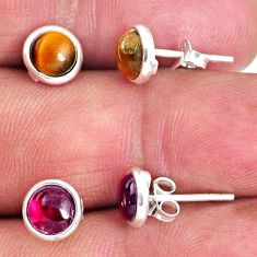 4.92cts natural brown tiger's eye red garnet 925 silver stud earrings r65522
