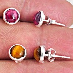 5.04cts natural brown tiger's eye red garnet 925 silver stud earrings r65525