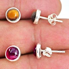 4.94cts natural brown tiger's eye red garnet 925 silver stud earrings r65526