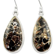 Clearance Sale- 21.68cts natural brown turritella fossil snail agate 925 silver earrings d39950