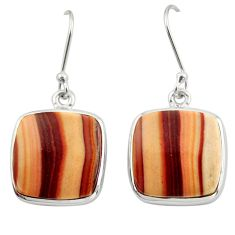19.72cts natural brown wave rolling hills dolomite 925 silver earrings d39941