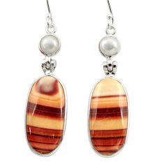 brown wave rolling hills dolomite 925 silver earrings d39946