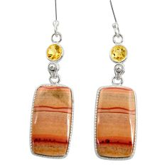 18.73cts natural brown wave rolling hills dolomite silver dangle earrings d39571