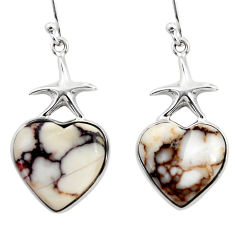 12.72cts natural brown wild horse magnesite 925 silver star fish earrings r46793