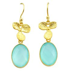 11.73cts natural chalcedony 925 silver 14k gold birds charm earrings t44058