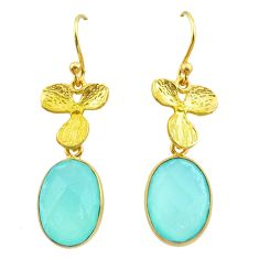 11.20cts natural chalcedony 925 silver 14k gold birds charm earrings t44059