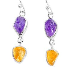 9.83cts natural citrine amethyst raw 925 silver dangle handmade earrings r74279