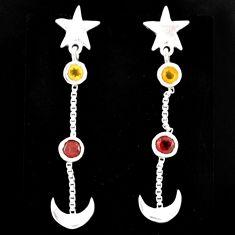 1.94cts natural citrine garnet 925 sterling silver moon star earrings r71204