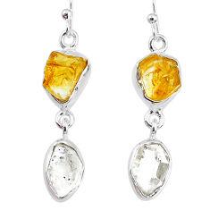 10.65cts natural citrine raw herkimer diamond dangle handmade earrings r74356