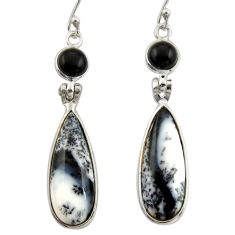 15.14cts natural dendrite opal (merlinite) 925 silver dangle earrings r42071
