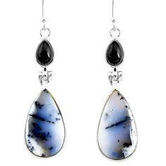 17.35cts natural dendrite opal (merlinite) 925 silver dangle earrings r86706