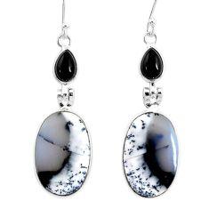 17.35cts natural dendrite opal (merlinite) 925 silver dangle earrings r86711