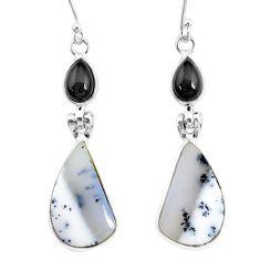 16.68cts natural dendrite opal (merlinite) 925 silver dangle earrings r86712