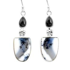 15.31cts natural dendrite opal (merlinite) 925 silver dangle earrings r86716