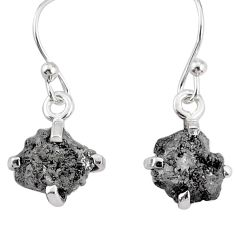 3.86cts natural diamond raw 925 sterling silver handmade earrings r79325