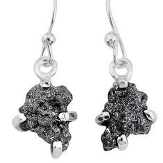 3.87cts natural diamond rough 925 silver handmade dangle earrings r79161