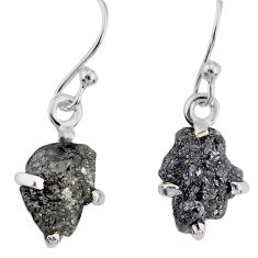 3.87cts natural diamond rough 925 silver handmade dangle earrings r79162