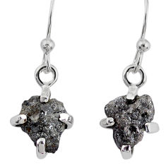 3.75cts natural diamond rough 925 silver handmade dangle earrings r79163