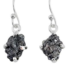 4.16cts natural diamond rough 925 silver handmade dangle earrings r79166
